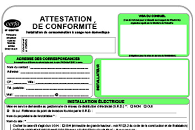 photo attestation de conformité consuel