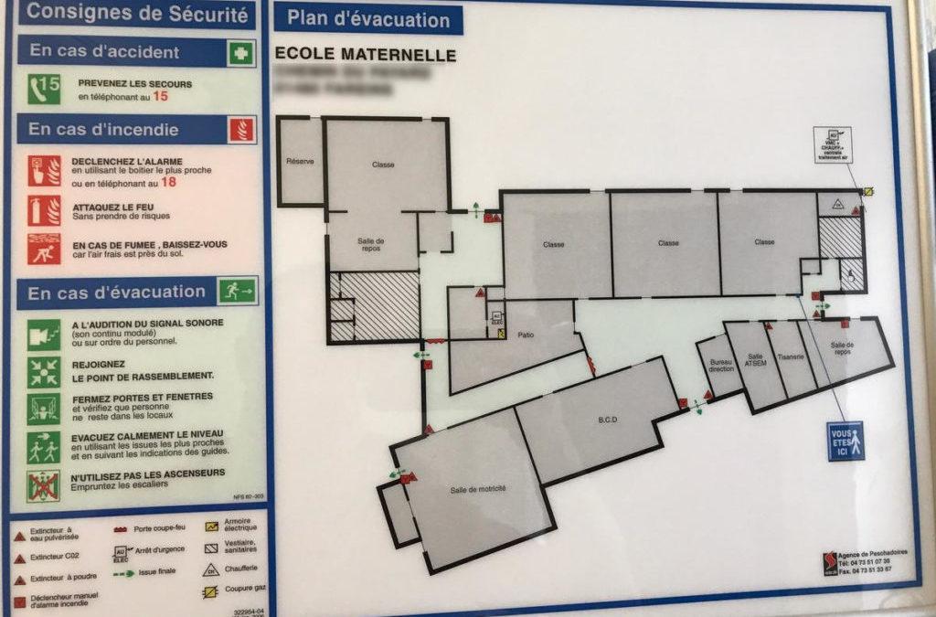 Fourniture et installation sur site d'un plan d'évacuation A3. A partir de 89 € HT